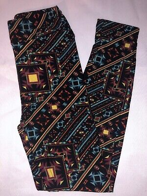 (BoxII) LuLaRoe Kids Leggings L/XL New Black Multicolor Aztec Design & Stripes