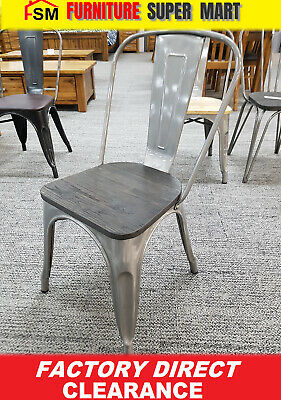 RRP$99 Dining/Cafe Silver High Back Steel Chair with Dark Wooden/ Timber Seat