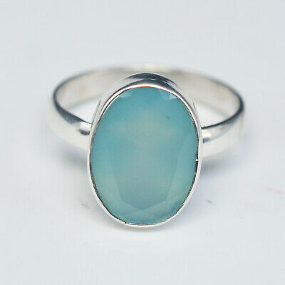 Crystalcraftindia 925 Solid Silver Chalcedony gemstone Rings Size 7 US 3.38 g