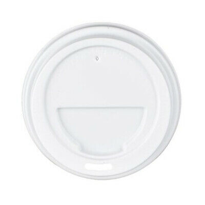 100x Coffee Travel Lid White For 12oz & 16oz Coffee Cups Disposable Plastic