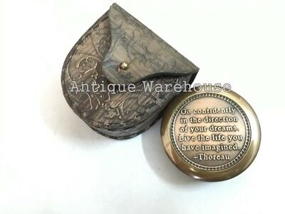 Go confidently in the....Thoreau's Nautical Antique Brass Working Compass / Case