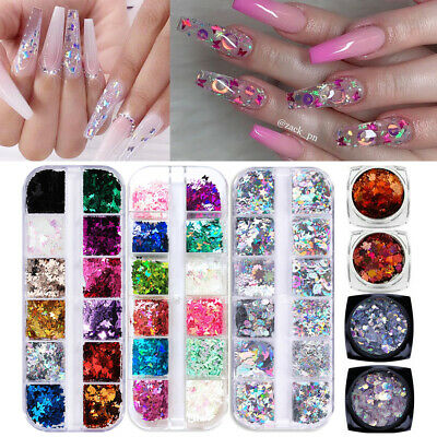 Autumn Maple Leaf Nail Sequins Paillette Snowflake Butterfly Nail Art Flakes DIY