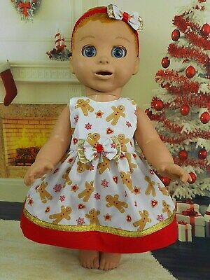 Dolls Clothes For Luvabella Doll~White Gingerbread Man~Christmas Dress Set