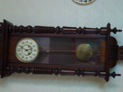 antique clock movement spares or repair 8in dial with case.PICK UP ONLY