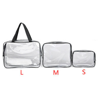 S M L Clear Transparent Plastic PVC Travel Cosmetic Make Up Toiletry Bag New ALI
