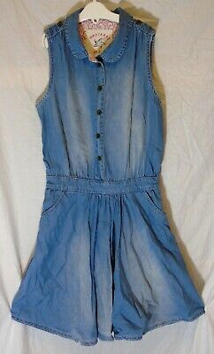 Girls Debenhams Light Blue Soft Denim Button Fronted Collared Dress Age 11 Years