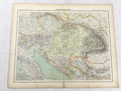 1898 French Map of Austria Hungary Austro Hungarian Empire 19th Century Antique