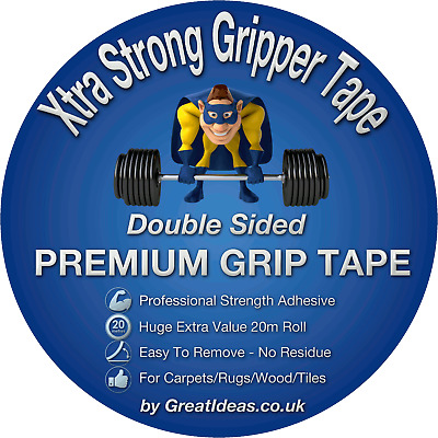 XTRA STRONG Mounting Tape Powerful Grip Double Sided Carpet Sellotape Adhesive