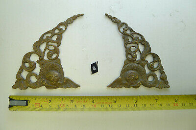 8) Antique PAIR ARCH CLOCK SPANDRELS Cast Yellow Brass Longcase & screws