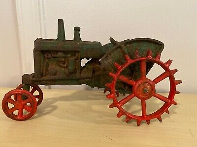 "Old Vtg Cast Iron Toy Farm Tractor Vehicle Red Wheels Green 9""x6"""