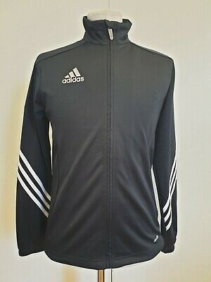 L508 Boys Adidas Climalite Black White Striped Tracksuit Jacket Age 13-14 Years