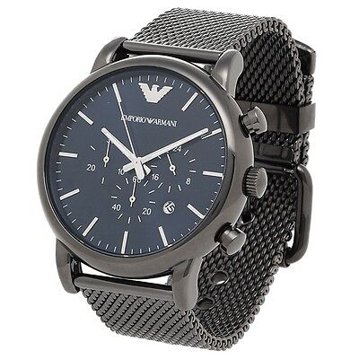 Brand New Emporio Armani Luigi Grey Mesh Steel Chronograph Men Watch Ar1979