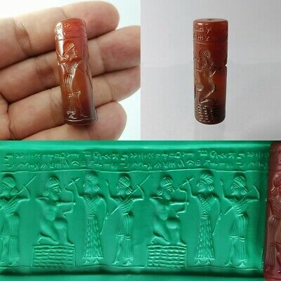 Old​ Sassanian Carnelian Agate Bead Beauty Seal Roll Cylinder Intaglio #191