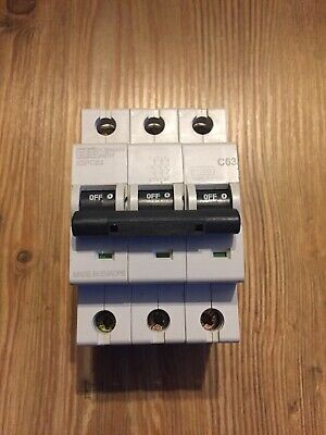 Dorman Smith 63 Amp Type C X3PC63 Circuit Breaker MCB 3 Phase Pole