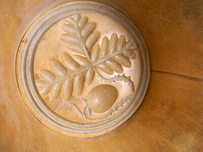 Vintage Primitive Wood Butter Mold Stamp Press Folk Art Oak Leafs & Acorn