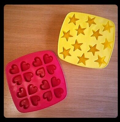 IKEA Heart & Star Ice Cube Tray Mold Silicone Rubber Crayon Soap Candy Jell-O