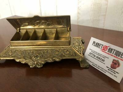 UNUSUAL LATE 19th CENTURY  VICTORIAN  CAST BRASS STAMP BOX 5 COMPARTMENTS