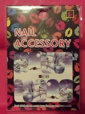 Christmas Nail Art Water Decals - Snow Covered House Red Bird On Fence
