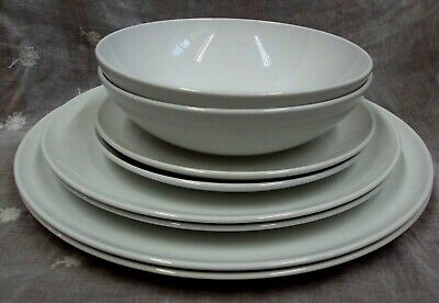 Lot/8 Vtg CENTURA by CORNING Cereal Bowls, Salad Lunch Dinner Plates WHITE COUPE