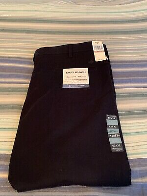 Dockers Easy Khaki Classic Fit Pleated 42x32 Pants New With Tags Navy Blue