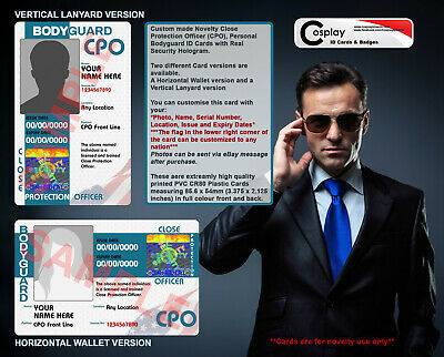 Personal Bodyguard ID Card, Close Protection Officer, CPO, Executive Protection