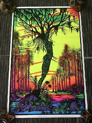 "Vtg Bayou Swamp Mirage Flocked Blacklight 34.5""x22.5"" Poster Psychedelic Lady"