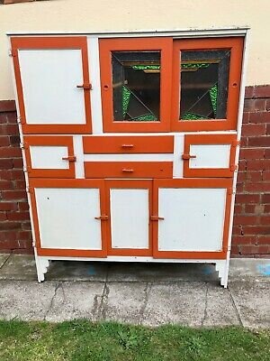 Art Deco Leadlight Kitchen Dresser Cabinet