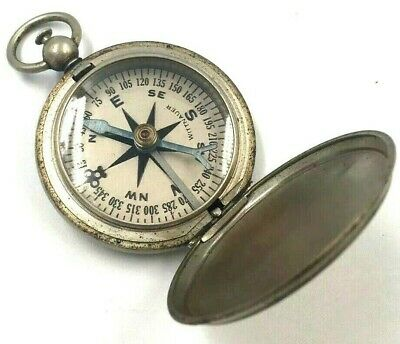 Wittnauer Pocket Compass WWII US Air Force Army Military Vintage Nickel Nice!