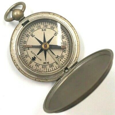 Wittnauer Pocket Compass WWII US Air Force Army Military Vintage Brass Nice!