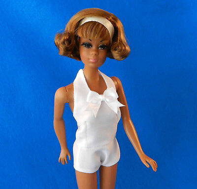 "Barbie fashion HANDMADE vintage look blouse ""Busy Gal Style"" crepe poly WHITE v2"