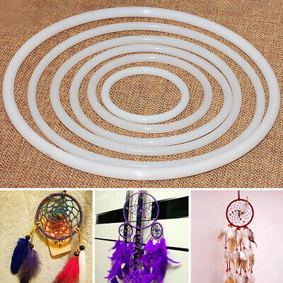 10pcs Plastic Dream Catcher Dreamcatcher Feather Ring Craft Round Hoop White