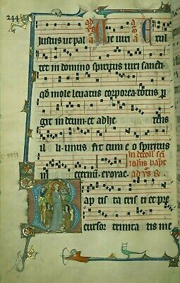 Antiphonary Collection of 8  Illuminations.Accents in Gold ink.PRINT &HAND. New