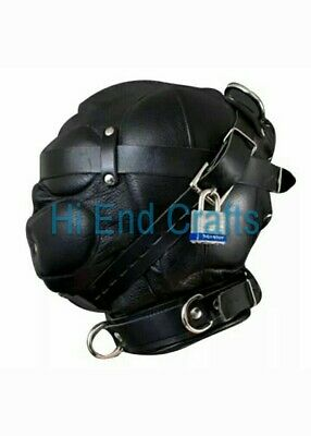 100% Geniune Leather Sensory Deprivation Bondage Hood / Mask