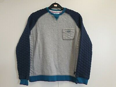 L522 Boys Ted Baker Grey Blue Chest Pocket Crew Neck Jumper Uk Age 13-14 Years