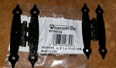 Amerock (10) Pair Vintage Colonial Black Steel Cabinet Hinges  Usa Nos