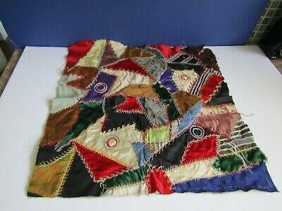 Vtg Crazy Quilt Silk Velvet Hand Embroidered Pillow Topper Unfinished
