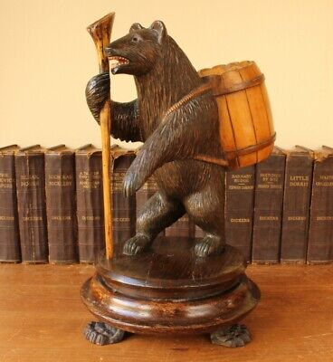 Antique Black Forest Wood Carved Hiking Bear Statue Ornament Figure. c1900