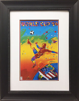 """Peter Max """"World Cup 94'"""" CUSTOM FRAMED Print Art POP psychedelic Soccer Futball"""