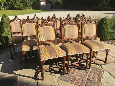 12 Antique Gothic Revival Dining chairs late 19th century