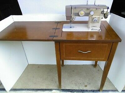 Mid-Century MORSE ELECTRAMATIC 707-TW Sewing Machine & Folding Wooden cabinet