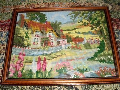 🎀 Hand Crafted Tapestry Framed Picture Country Cottage Gardens Flowers 🎀