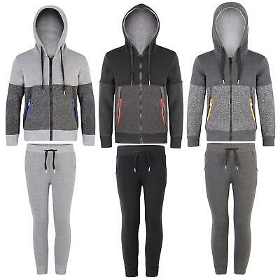 Kids Tracksuit Contrast Zips Girls Hooded Jacket Boys Joggers 2 Pieces Set 3-14Y