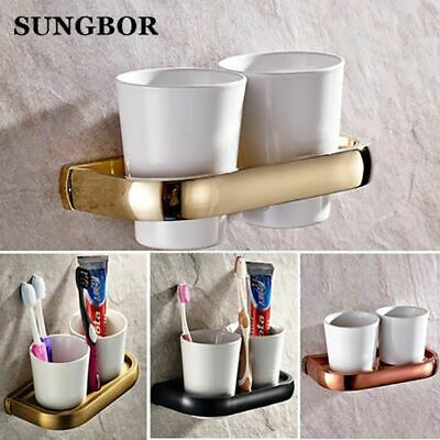 Bath Hardware Wall Mounted Double Tumbler Holder White Ceramics Toothbrush Cup