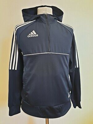 L568 Boys Adidas Blue White Stripes Hoodie 1/4 Zip Tracksuit Top Age 13-14 Years