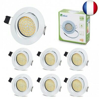 Spots LED Interieur Blanc Plafonnier Encastrable Orientable (3.5w Non Dimmable)