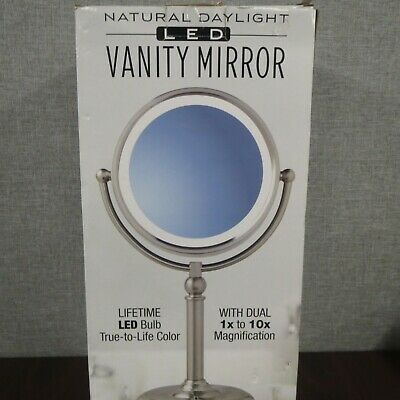 Natural Daylight LED Vanity Mirror 1X-10X Magnification ~NEW~