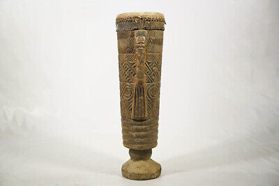 "Enticing Hand Carved Kuba Drum 31"" - DRC - African Art"