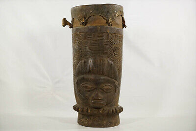 "Intricately Hand Carved Yoruba Drum 24"" - Nigeria - African Art"