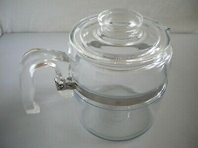 Vintage Pyrex Flameware Blue Tint 6-cup Glass Percolator Coffee Pot & Lid 7756