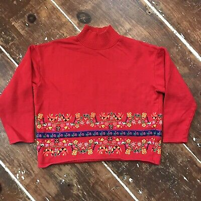 Vintage Benetton Italy Floral Cropped Sweatshirt Womens Medium 1990s Red Crew